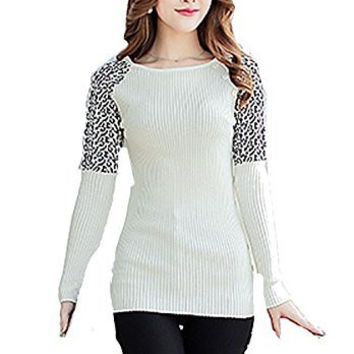 Womens White Ribbed Scoop Neck Sweater with Black/ White Leopard Shoulder and Buttons