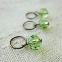 Fern green crystal dangle charm knitting crochet DIY jewelry earrings