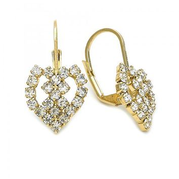 Gold Layered 5.125.002 Leverback Earring, Heart and Love Design, with White Cubic Zirconia, Polished Finish, Golden Tone