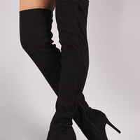 Fitted Suede Stiletto Over-The-Knee Boots   UrbanOG