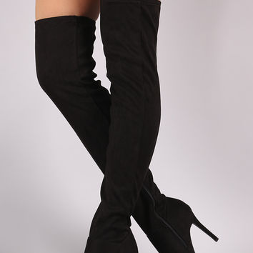 Fitted Suede Stiletto Over-The-Knee Boots | UrbanOG