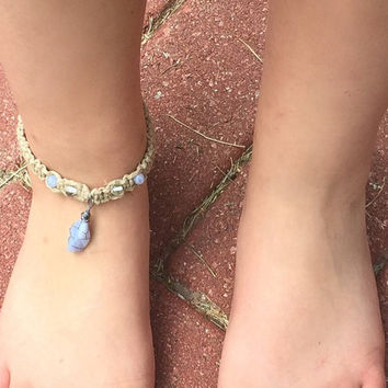 Hemp/Macrame Wired Wrapped Crystal Anklet by altjoy on Etsy
