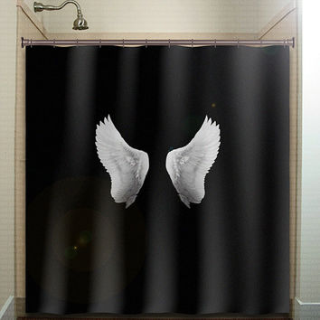 white angel dove wing black shower curtain bathroom decor fabric kids bath window curtains panels bathmat valance