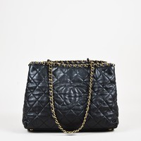 """Chanel Black Quilted Calfskin Leather """"Chain Me"""" Gold Tone Shoulder Bag"""