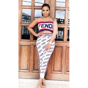 Fendi Fashion New Summer More Letter Print Leisure Strapless Top And Pants Two Piece Suit White