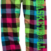 Basketball Neon Plaid Lounge Flannel Pant with Pockets