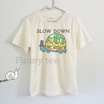 Turtle slow down boys girls clothing Buy 2 get 1 free kids shirt **short sleeve shirt **crewneck **off white t shirts size S M L XL