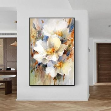 Flower oil painting Original palette knife white Paintings on canvas art wall art Pictures Home Decor hand painted quadro cuadros abstractos
