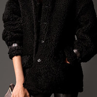 Oversize Shearling Coat with Nappa Leather Trim