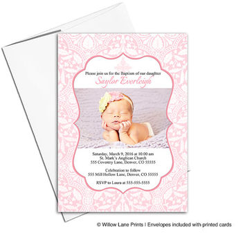 baby girl Baptism invitations pink | printable or printed cards | Christening invitation girl - WLP00204