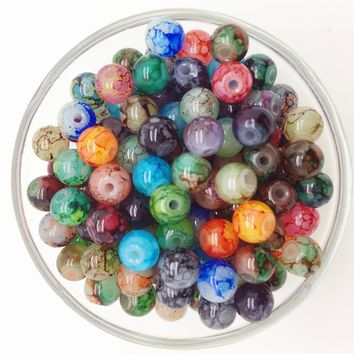 NEW DIY 6mm 50PCS Glass Round Pearl Spacer Loose Beads Pattern Jewelry Making