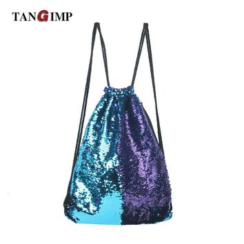 TANGIMP Mermaid Sequin Backpacks Glittering Shoulder Bling Bags Reversible Glitter Drawstring Backpacks Women Beach PE Bags