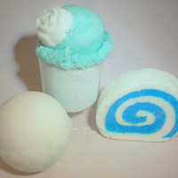 Gentle Rain 4-piece Bath Cocktail Luxury Gift Set. Bath Bomb, Solid Bubble Bath Bar, Bath Salts and Sugar Scrub.  Just for you.