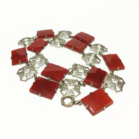 Vintage Art Deco Necklace, Filigree Rhodium Plate and Carnelian Glass Stones, 1930s