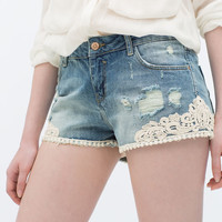 Denim and crochet shorts