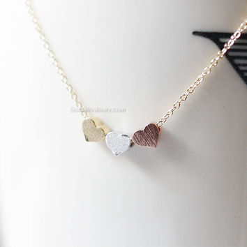 Tiny 3 hearts necklace, gold, silver, and rose gold hearts on gold, silver chain.daint, simple, birthday, wedding, bridesmaid