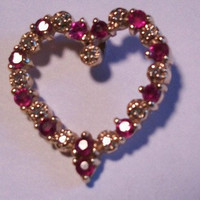 Exquisite 14k Yellow Gold Ruby and Diamond Heart Pendant