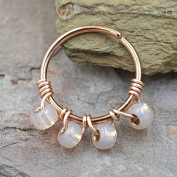 Pink Rose Gold Beaded Cartilage Hoop Tragus Hoop Helix Hoop Earring