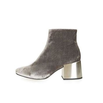Velvet Ankle Boots with Metallic Heels