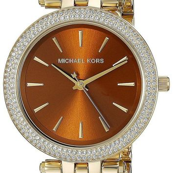 CREYRQ5 Michael Kors Women's Goldtone Mini Darci Watch With An Amber Dial