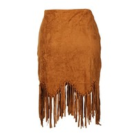 Faux Suede Asymmetrical Knotted Fringe Hem Pencil Skirt
