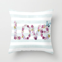 SPRING FLORAL LOVE Throw Pillow by Nika