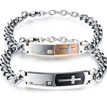 His and Hers Matching Set Titanium Stainless Steel Couple Romantic Cross Bracelet in a Gift Box (A Pair)