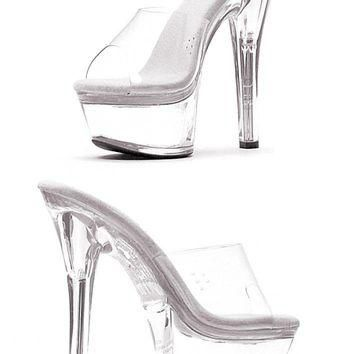 Women's Shoes 6 Inch Heel Mule (13,Clear/Black)