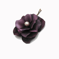 Violet Flower Hair Pin -- Purple Hydrangea Flower Hair Clip / Bobby Pin - Wedding Accessory