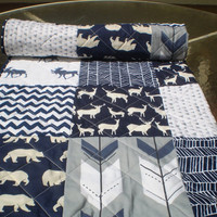 Baby quilt-Deer Baby quilt-baby boy bedding-baby girl quilt,woodland,rustic,grey,navy blue,deer,stag,bear,moose,arrow,chevron-Into the Woods