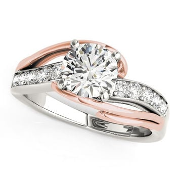 White & Rose Gold Double Bypass Diamond Engagement Ring | 1 1/8ct