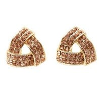 Knotted Rhinestone Stud Earrings by Charlotte Russe - Pale Peach