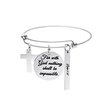Christian Bracelet Expandable Wire Bangle Bible Verse Stainless Steel Jewellery Charm Inspirational Gifts
