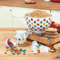 Candy Colored M&M's Kitchen Collection Mixing Bowl And 8 Pc Measuring Cup/Spoons