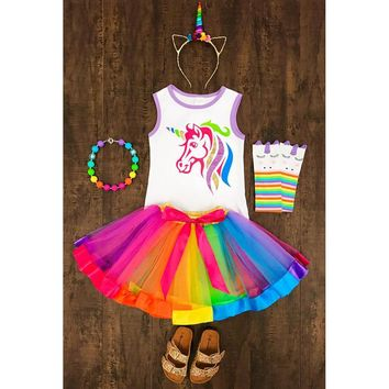 Kids Rainbow Unicorn Tank Tutu Skirt Set