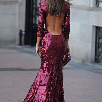 New Burgundy Sequin Backless Sparkly Mermaid Glitter Prom Wedding Party Maxi Dress