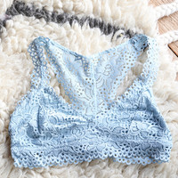 Eyelet Lace Bralette, Ice Blue