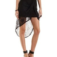 Twisted High-Low Lace Tulip Skirt by Charlotte Russe