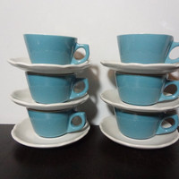 Vintage Buffalo China Restaurant-ware Turquoise Blue Diner Coffee/Tea Cups with White Scalloped Saucers - Set of 6 Cup and Saucer Sets