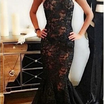 robe de soiree Special Occasion Gown Mermaid Prom Dress Halter neck High quality Lace Black backless prom dresses 2015