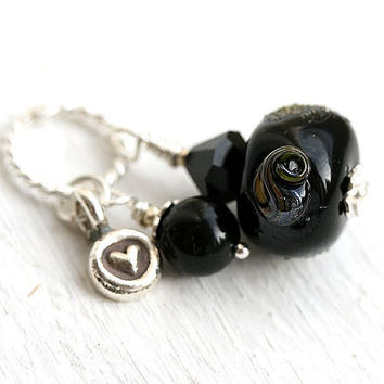 Black pearl Pendant - heart charm, lampwork glass bead on sterling silver, jewelry by MayaHoney, P31