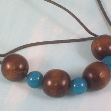 Dark Chocolate Brown and Teal Blue Cord Necklace Simple Summer Style 2