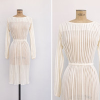 1970s Dress - Vintage 70s Sheer Cream Striped Dress - La Crème Dress