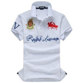 Short Sleeve Tops Cotton Men Plus Size Embroidery T-shirts [10775754563]