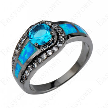 Blue Sapphire Ball Female Opal Ring Black Gold Filled Jewelry Natural Stone Wedding Rings For Men And Women Bague Femme RB0308 Alternative Measures