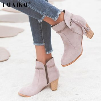 LALA IKAI Waterproof Platform Fringe Riding Boots Women Round Toe High-heeled Winter Shoes Flock Casual Ankle Boots 040N1356-4
