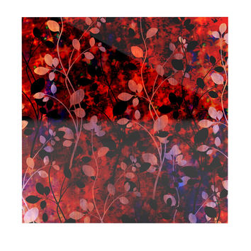 "Ebi Emporium ""Amongst the Flowers - Summer Nights"" Red Black Luxe Square Panel"
