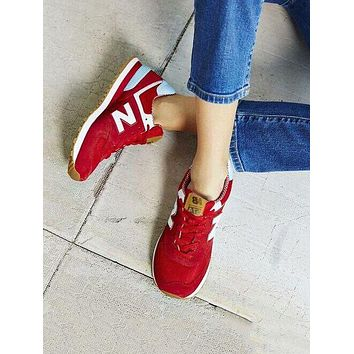 New Balance Fashion Women Men Casual All-Match N Words Breathable Couple Sneakers Shoes Red
