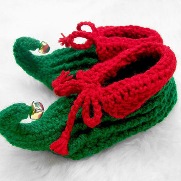 Jingle Bell Elf Slippers, Children Slippers, Toddler Slippers, Girls, Boys, Photo Prop, Red, Green, Jingle Bells, Holiday Slippers