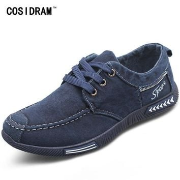 COSIDRAM Canvas Men Shoes Denim Lace-Up Men Casual Shoes New 2017 Plimsolls Breathable Male Footwear Spring Autumn RME-252